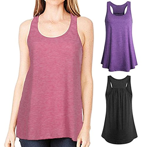 Wawer Women's Sports Vest Tops, Summer Sleeveless Yoga Sports Tank,Flowy Cotton Racerback Blouse Tee T-Shirt for/Daily/Party/Daily/Beach,S-XL