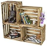 LAUBLUST 4er Set Sehr Große Vintage Holzkisten - 50x40x30cm, Geflammt, Unbenutzt | Möbel-Kiste | Wein-Kiste | Obst-Kiste | Apfel-Kiste | Deko-Kiste aus Holz