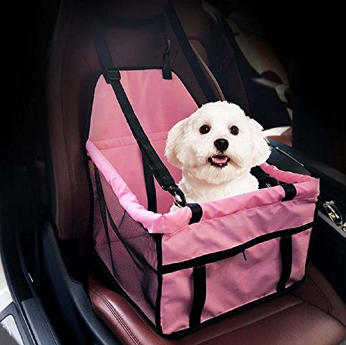 Waterproof Breathable Pet Car Mat Safety Car Seat Belt Cover Booster Bag Pet Carrier Seat Protector Travelling Car Cushion for Dog Cat Pet (Pink)