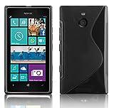 Cadorabo Nokia Lumia 925 Custodia Silicone TPU DISEGNO S in NERO PROFONDO - Morbida Cover Protettiva Super Sottile con Bordo Protezione - Back Case Ultra Slim Gel Bumper Fina Antiurto Guscio Originale