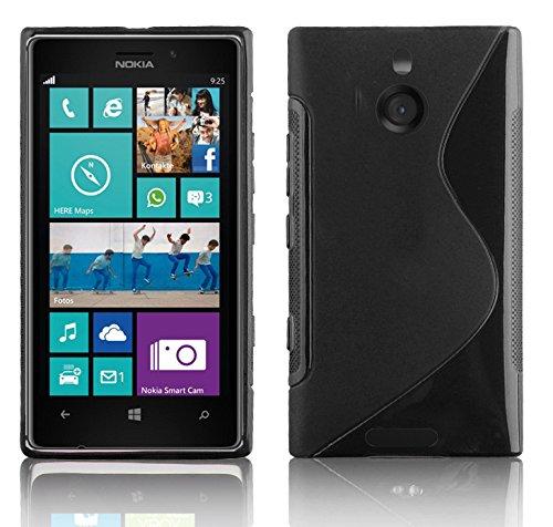 Preisvergleich Produktbild Cadorabo Hülle für Nokia Lumia 925 Hülle in Handyhülle aus flexiblem TPU Silikon im S-Line Design Silikonhülle Schutzhülle Soft Back Cover Case Bumper Oxid Schwarz