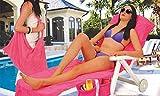 VINSANI Liege Mate Strand-Handtuch Sonnenliege für Urlaub Garten mit 4Taschen, erhältlich in 3Farben rose