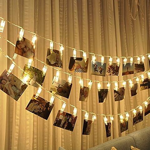 B-right® 20 LEDs Foto Clips Lichterketten, LED lichterkette warmweiß, batteriebetrieben, Sternenlicht Licht Wanddekoration Licht für hängende Fotos Gemälde Bilder Karte Notizen Artwork und Memos.