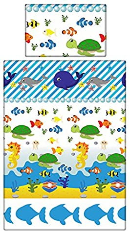 Babies-Island A 2 Piece Bedding Set Pillowcase+Duvet Cover For Baby Toddler To Fit Cot/Cot Bed - Boys Girls BLUE SEA FISH NAUTICAL (90x120