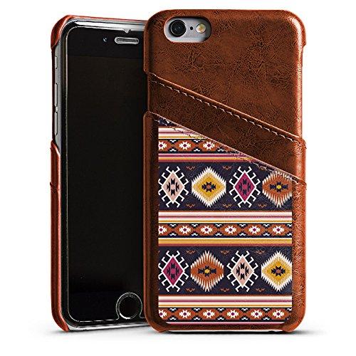 Apple iPhone 5s Housse Outdoor Étui militaire Coque Motif Motif Ethnique Étui en cuir marron