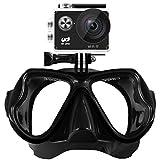 YDI Masque de Plongée en Apnée Plongée Sous-marine Compatible avec caméra sports, GoPro Hero 1/2/3/4/5, Session Xiaoyi, Session SJCAM, Masque Snorkeling / Snorkeling (Noir)