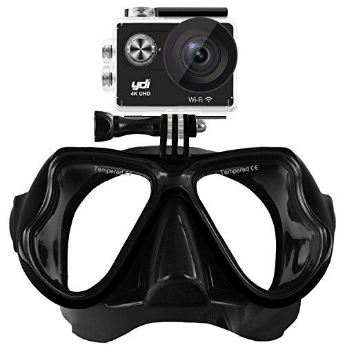 Galleria fotografica YDI Maschera Subacquea Compatibile con Action Sports Camera, Gopro Hero 5/4/3/2/1, Xiaoyi serie, SJCAM serie, nuoto maschera per snorkeling (Nero)