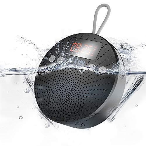 VicTsing Altavoz Bluetooth  5W Mini Altavoz Bluetooth V4.0 Con Ventosa  Funciones de Radio FM  Despertador y Manos libres. 10 HORAS de Emisión Continua Para Poder Llevarlo donde quieras.