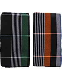 HTC Men's Cotton Lungi- Pack of 2 (Multi-Coloured)