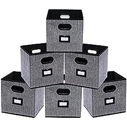 homyfort Lot de 6 Boîtes/Tiroirs en Tissu Cube de Rangement Pliable Coffre pour Linge, Jouets, Vêtement, avec Etiquettes, 30 x 30 x 30 cm Noir Tissu en Lin XAB06P