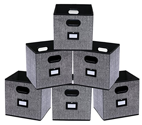 homyfort 6 Stück Faltbare aufbewahrungsbox stoffbox faltbox mit Kunststoffgriff und Etikettenhalter, 30 x 30 x 30 cm Schwarz Leinen XAB06P -