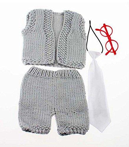 DAYAN 2016 Neueste nette Baby-Fotografie Prop Peacock Crochet Strick Kostüm Brille + Tie-Klage (Peacock Baby Kostüm)