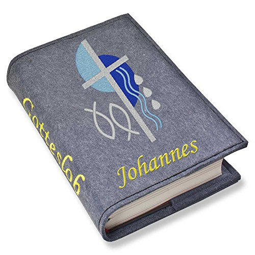 Gotteslob Gotteslobhülle Kreuz 2 blau Filz mit Namen bestickt hellgrau grau dunkelgrau lila blaugrau (blaugrau meliert)