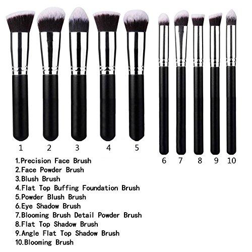 Shadow-plus-kit (Natthom Kit De Pinceau Maquilcege Le plus populairefessionnel 10PCS La couleur est noire Eyebrow Shadow Blush Fond De Teint Anti-Cerne)