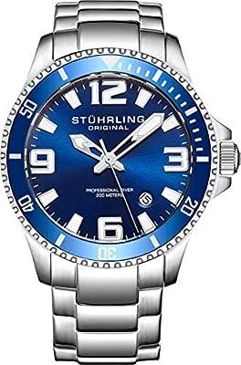 Stuhrling Original Pro Diver Reloj analógico para Hombre, en Acero Inoxidable Suiza de Cuarzo
