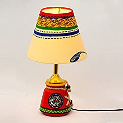ExclusiveLane Hand Painted Terracotta Warli Baby Decorative Lamp Set (15.24 cm x 15.24 cm x 26.42 cm, Red)