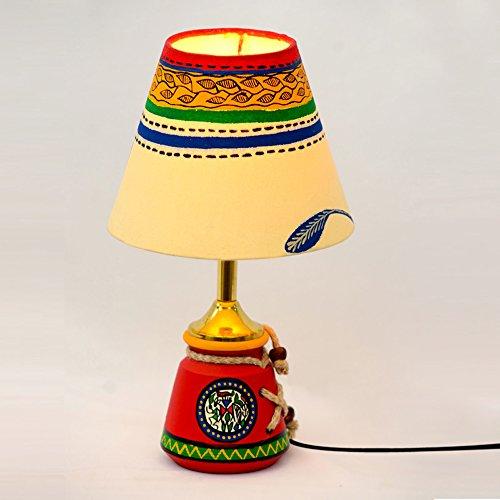 ExclusiveLane Hand Painted Terracotta Warli Baby Decorative Lamp Set (15.24 cm x 15.24 cm x 26.42 cm, Red)