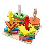 Holzsammlung Farben und Formen Sortierspiel - Holz Geometrischer Kreatives Stapler/Steckpuzzle ab 3 Jahre