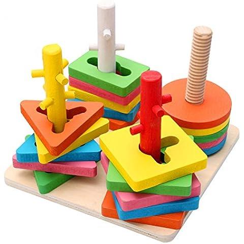 Holzsammlung Creativo Colori e Forme Impilatore Geometrico Puzzle di Legno per 36 Mesi e più - Sopra Giochi D'acqua