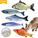 Natuce 5PCS Catnip Fish Toys for Cat, 20 cm Cat Toys, Cat Fish Pillow, Cat Catnip Toys, Cat Chew Toys, Pet Toy, Cat Pillow, Fish Toy, Teeth Cleaning, Interactive Plush Cat Toys, for Cat, Puppy, dog