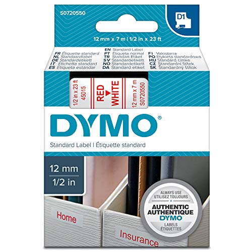 Dymo S0720550 D1-Etiketten (Selbstklebend, für den Drucker LabelManager, 12 mm x 7 m Rolle) rot auf weiß