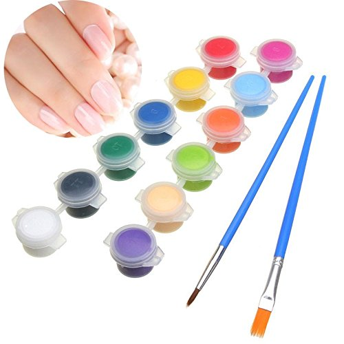 Bluelover 12 Farbe / Set 3G Nagel-Kunst Diy Farben-Pigment-Acryl-Emulsion Graffiti-Bürsten-Feder-Satz