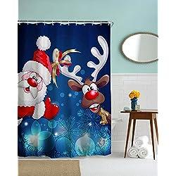 Weihnachten Duschvorhang anti-schimmel, Alumuk antibakteriell wasserdicht Badewanne Vorhang für Weihnachtszeit Badezimmer Deko (Weihnachtsmann und Rentier Rudolf mit der roten Nase, 180 x 200 cm)