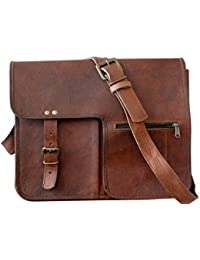 MLH 15 Inch Vintage Handmade Leather Messenger Bag For Laptop Briefcase Satchel Bag 15X11X4 Inches Brown ...