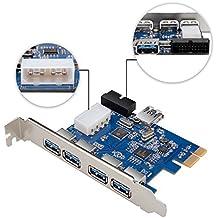 qobobo® SuperSpeed PCI-E a USB 3.04-Port Express Card con 1x Puerto Interno, 1x USB 3.019-pin USB 3.0(Conector Ampliar otro Dos puertos USB 3.0) y de 4pines macho Conector de alimentación