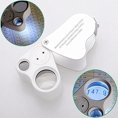Kimilar 30X 60X LED Lighted Illuminated Jewelers Eye Loupe Jewelry Magnifier for Gems Jewelry Rocks Stamps Coins Watches Hobbies Antiques Models