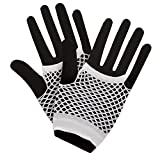 80's Net Gloves - Neon WHITE Fancy Dress Accessory