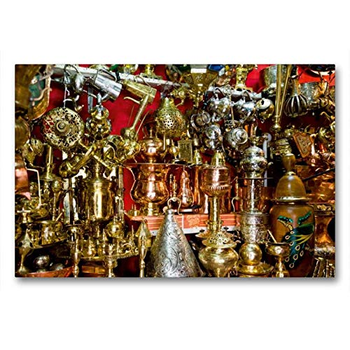 Calvendo Premium Textil-Leinwand 90 cm x 60 cm quer, Opulente Pracht im Souk von Marrakesch. | Wandbild, Bild auf Keilrahmen, Fertigbild auf echter Leinwand, Leinwanddruck Orte Orte -