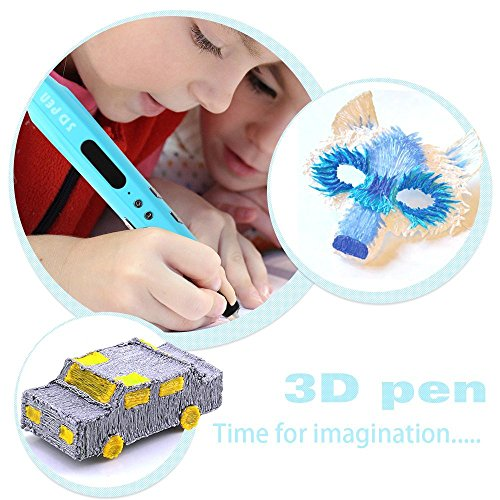 Uvistare 3D Drucker Stift Set 3D Stereoscopic Printing Pen Drawing, 3 x 3M PLA Filament ( Blau Rot Gelb ), Intelligent mit LCD-Bildschirm, Freihand 3D Zeichnungen, für Kinder Erwachsene Kunstwerken - 2