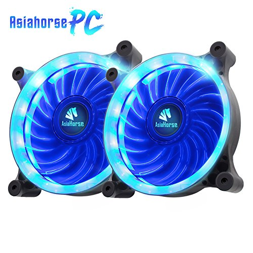 Price comparison product image Asiahorse Solar Eclipse UAV 120mm Dual Aperture LED Long Life Case Fan,PC Custom Diy From Water Cooling System CPU Cooler 2PACK(Blue)