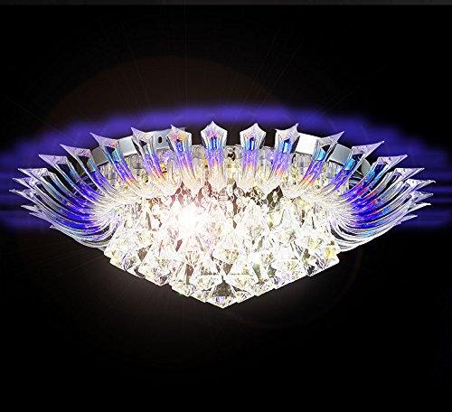 Farbwechsel Led Kristall Deckenleuchte Kronleuchter Deckenlampe Leuchte Lüster für Wohnzimmer 55cm Durchmesser 6x G9 inkl. Leuchtmittel und Fernbedienung