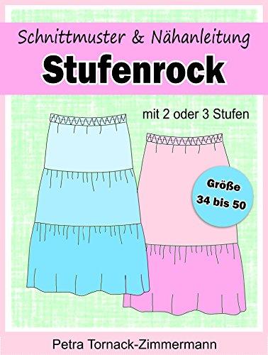 Schnittmuster & Nähanleitung STUFENROCK: mit 2 oder 3 Stufen - für Größe 34 bis 50 (Petozi Schnittmuster 1) - Stufenrock Nähen
