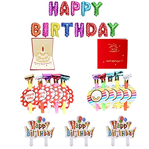 BESTIM INCUK Happy Birthday Party Favors Cake Decorations Set with HAPPY BIRTHDAY Foil Balloons,3D Handmade Pop-up Birthday Card, Birthday Cake Cupcake Toppers, Birthday Blowouts Whistles
