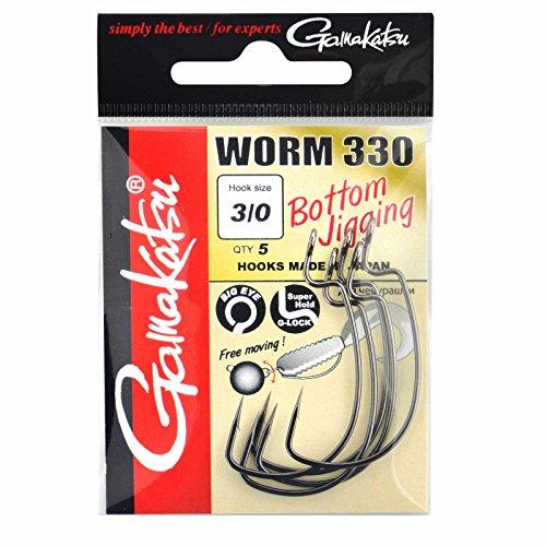 Gamakatsu Worm 330 Bottom Jigging - Offset Haken für Gummiköder, Offsethaken für Gummifische, Wide Gap Angelhaken für Jigs, Größe/Packungsinhalt:Gr. 1-6 Stück -