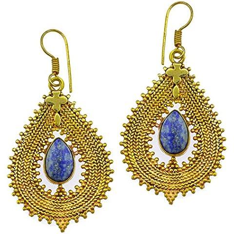 Chic-Net orecchini Lapis goccia catenina in ottone anticato dorato senza nichel a forma di croce con punte Tribal mcdart orecchini