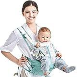 XBYEBD Ergonomische Grüne Babytrage, Reflektierendes Streifendesign - Geben Sie Die Vier Jahreszeiten Zurück, Baumwolle + Polyester Atmungsaktives Mesh (30kg, 0-36 Monate)
