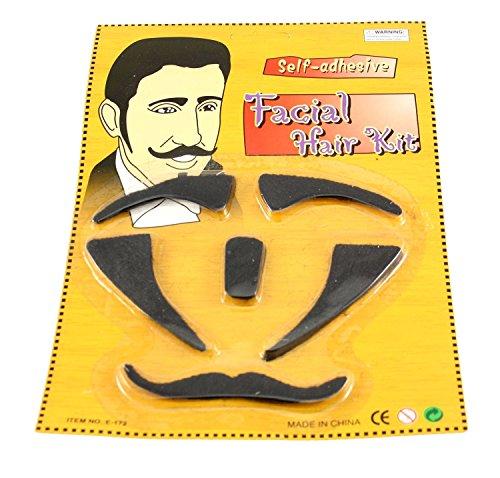 Gesichtsbehaarung Kostüm Mit - Zac's Alter Ego®® - Set mit selbstklebender Gesichtsbehaarung - ideal zum Verkleiden - Schwarz