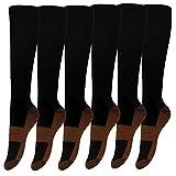 6 Pack Copper Knee High Compression Support Socks For Women and Men - Best Medical, Nursing, Maternity Pregnancy and Travel Socks - 15-20mmHg (Black, S/M)