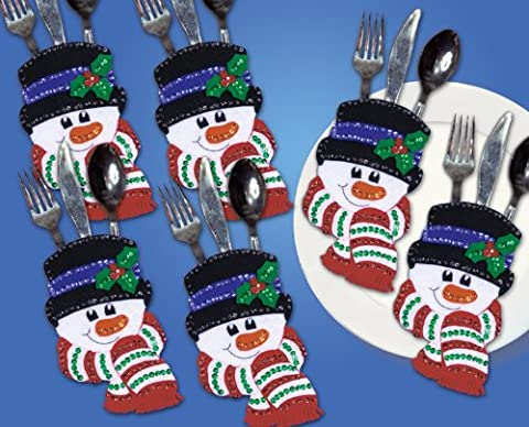 Design Works Snowman Faces Felt Tableware Pocket Set, Multi-Color