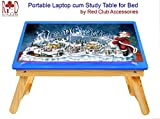 RedClub- Premium Santa Claus Merry Christmas Laptop cum Study Folding Table (Kids table) with Adjustable Table Top- Red Colour, with complementary RedClub Pen