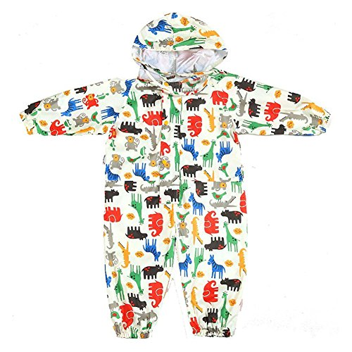 Gagacity Children Hooded Raincoat Suit EVA Waterproof Rainwear with Cotton Printed 1-6years Old