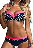 CROSS1946 Damen Elegant Bademode Push up Zweiteiler Swimsuits Badeanzug Bikini-Set Rot-Polka Small
