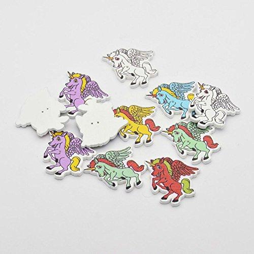 increway gemischt Farbe Holz gefärbt Einhorn Tasten 2-Loch Pferd Form Knöpfe für Kostüm Design und DIY Craft, 31x 28x 2,5mm, Loch: 1mm (Pferd Kostüme Für Zwei)