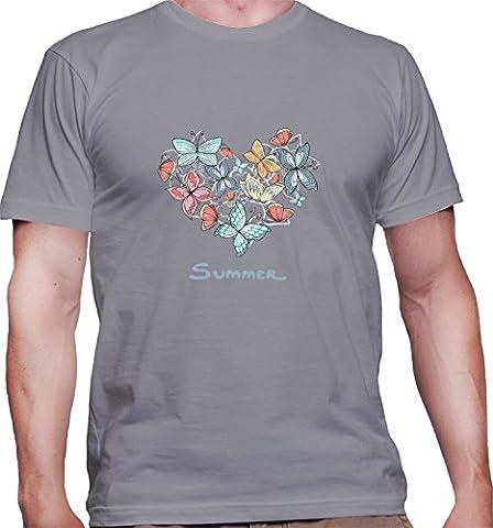 Hommes T-Shirt avec Beautiful Heart Of Butterflies Illustration imprimé. Col
