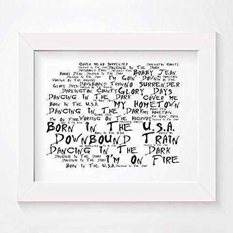 `Noir Paranoiac` Kunstdruck - BRUCE SPRINGSTEEN - Born in the USA - Unterzeichnet und Nummerierten Limitierte Auflage Typografie Ungerahmt 25 x 20 cm Wand Kunst Druck Text Lyrisch Plakat - Song Lyrics Art Print