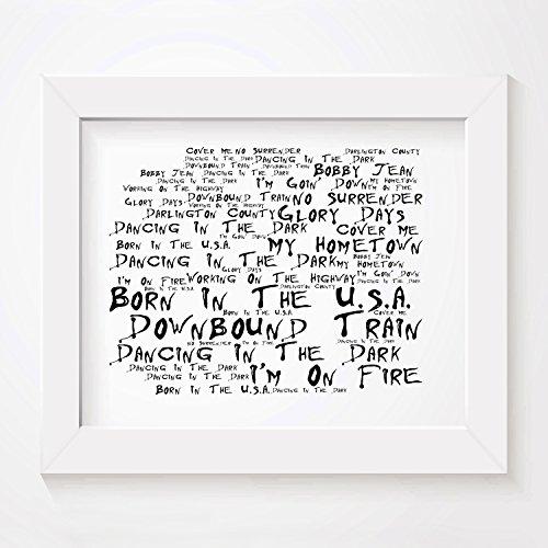 Noir-Paranoiac-Kunstdruck-BRUCE-SPRINGSTEEN-Born-in-the-USA-Unterzeichnet-und-Nummerierten-Limitierte-Auflage-Typografie-Ungerahmt-25-x-20-cm-Wand-Kunst-Druck-Text-Lyrisch-Plakat-Song-Lyrics-Art-Print